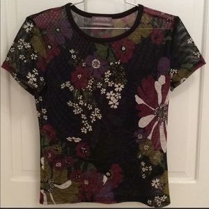 Urban Outfitters Top Black Net Short Sleeve Floral